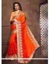 Bewildering Embroidered Work Orange Designer Saree