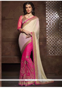 Exciting Patch Border Work Net Designer Saree