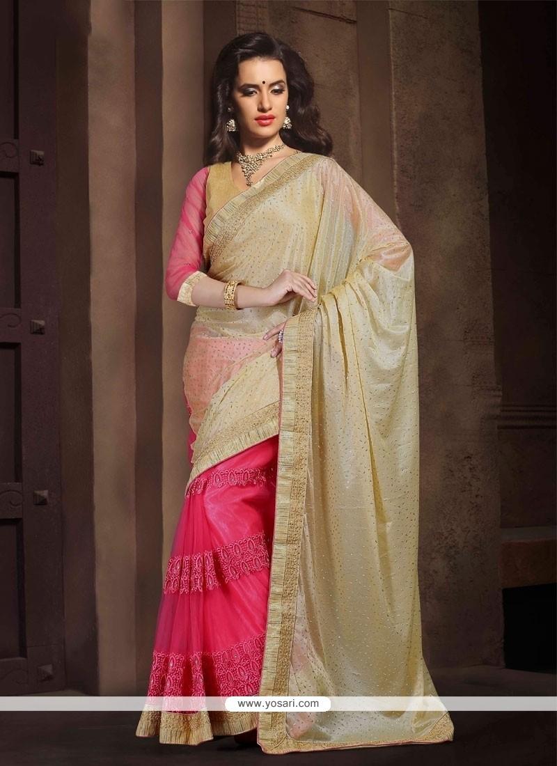 Pleasing Cream And Pink Designer Saree