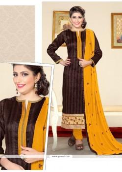 Sterling Resham Work Jute Silk Designer Straight Salwar Kameez