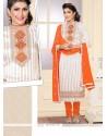 Amazing Jute Silk White Designer Straight Salwar Kameez