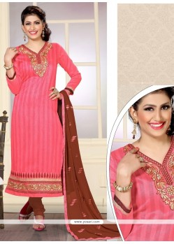 Preferable Pink Designer Straight Salwar Kameez