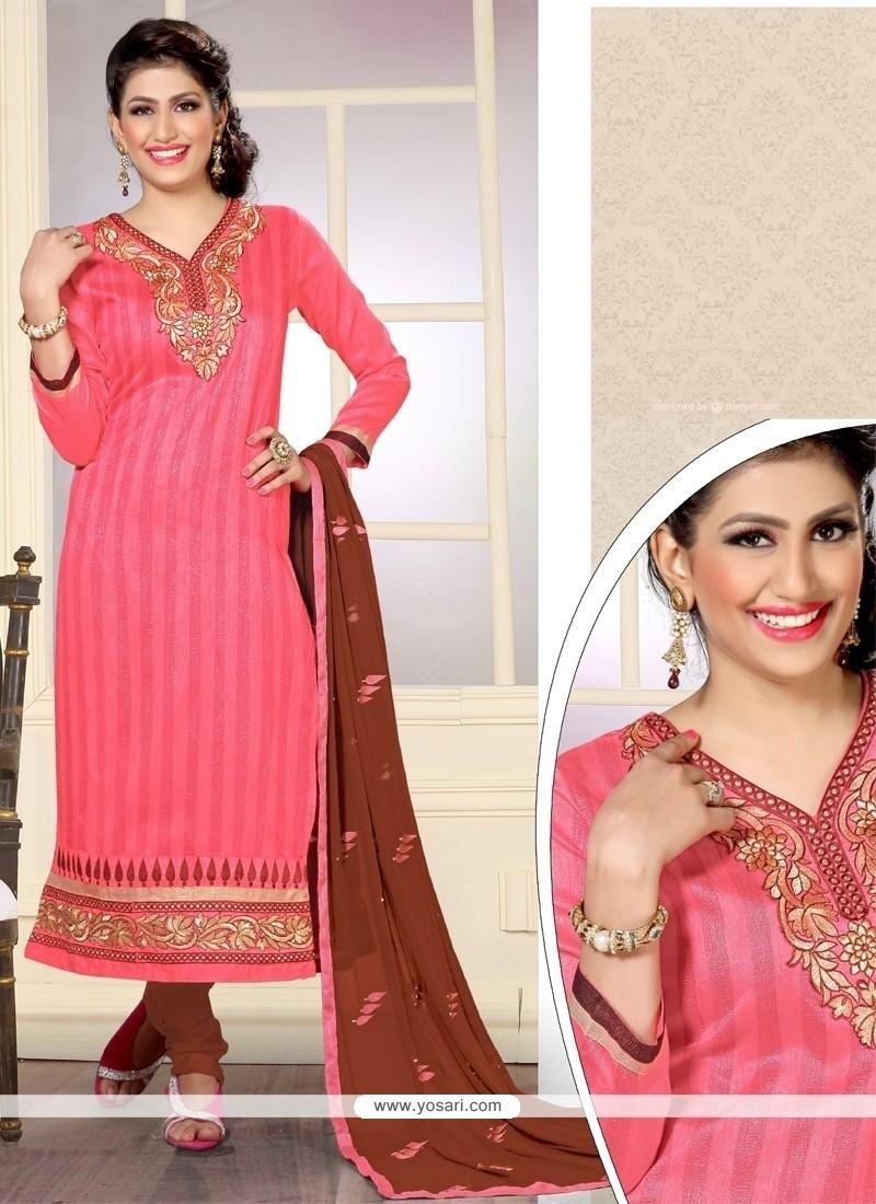 Preferable Pink Designer Straight Salwar Kameez