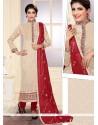Cherubic Resham Work Cream Jute Silk Designer Straight Salwar Kameez