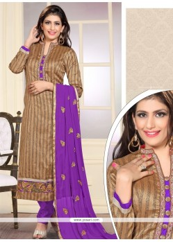 Imperial Embroidered Work Purple Jute Silk Designer Straight Salwar Kameez