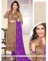 Imperial Embroidered Work Purple Jute Silk Designer Straight Salwar Kameez