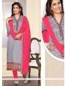 Delightful Grey Designer Straight Salwar Suit