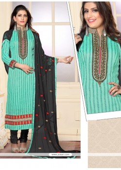 Charming Resham Work Jute Silk Sea Green Designer Straight Salwar Kameez