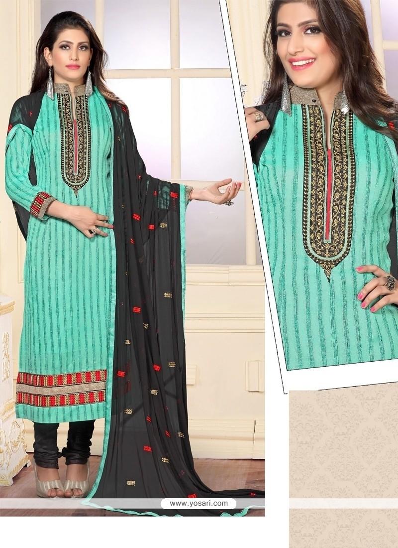 Charming Resham Work Jute Silk Sea Green Designer Straight Salwar Kameez