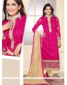 Flamboyant Jute Silk Hot Pink Designer Straight Salwar Suit