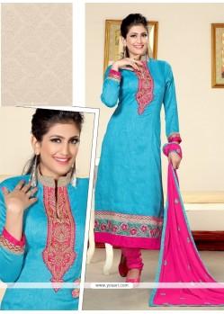 Splendid Turquoise Resham Work Jute Silk Designer Straight Salwar Kameez