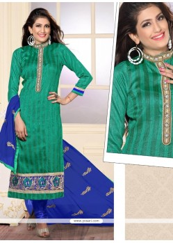 Urbane Embroidered Work Jute Silk Designer Straight Salwar Suit