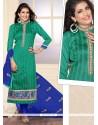 Urbane Embroidered Work Jute Silk Designer Straight Salwar Suit
