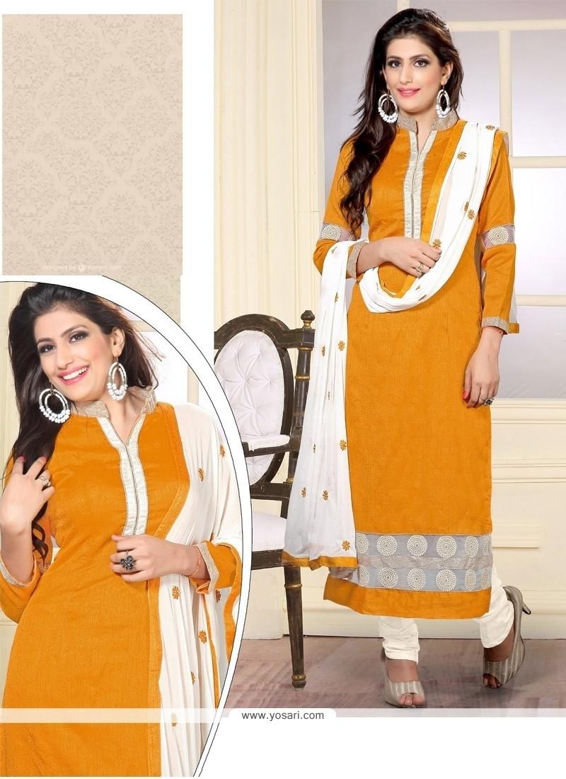 Exquisite Yellow Embroidered Work Designer Straight Salwar Kameez