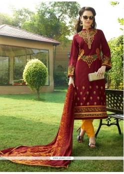 Lurid Maroon Cotton Satin Churidar Designer Suit