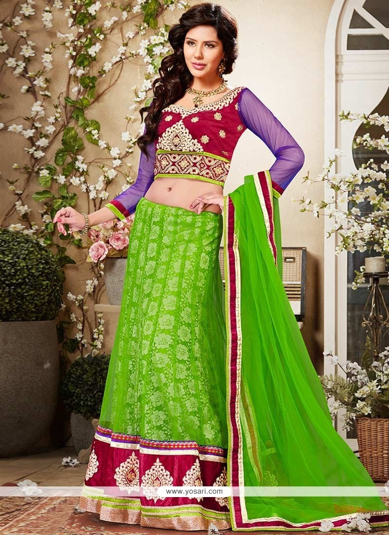 Latest Green Net Lehenga Choli