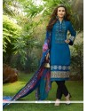 Gleaming Cotton Satin Blue Churidar Designer Suit