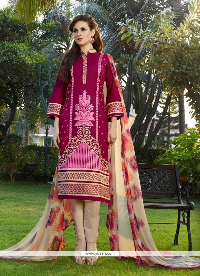 Ethnic Resham Work Cotton Satin Magenta Churidar Designer Suit