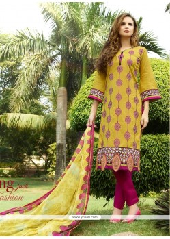 Bewitching Cotton Satin Yellow Embroidered Work Churidar Designer Suit