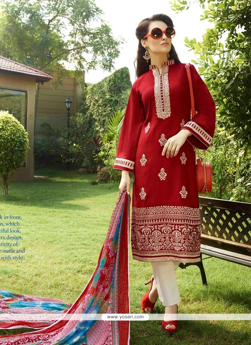 Stupendous Red Cotton Satin Churidar Designer Suit
