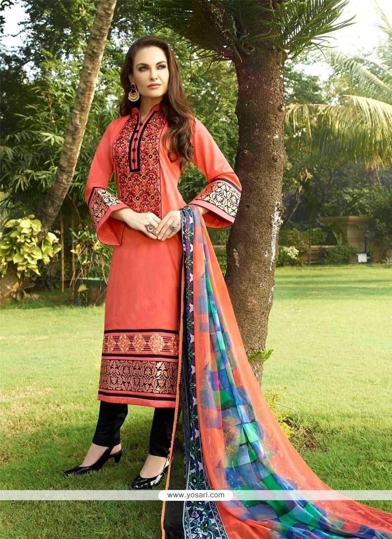 Grandiose Cotton Satin Peach Resham Work Churidar Designer Suit