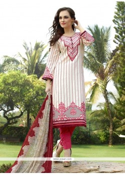 Fantastic Cream Resham Work Churidar Designer Suit