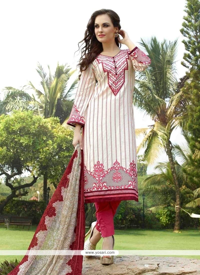 Fantastic Cream Resham Work Churidar Designer Suit