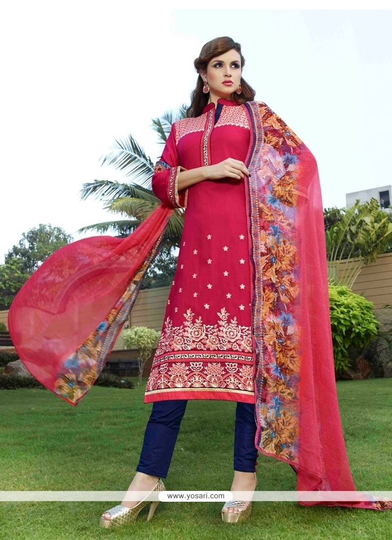 Immaculate Hot Pink Embroidered Work Cotton Satin Churidar Designer Suit