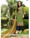 Congenial Embroidered Work Green Cotton Satin Churidar Designer Suit