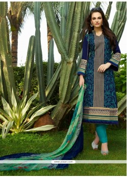 Dainty Resham Work Navy Blue Cotton Satin Churidar Designer Suit