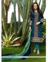 Dainty Resham Work Navy Blue Cotton Satin Churidar Designer Suit
