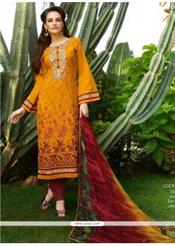 Lovable Resham Work Yellow Churidar Designer Suit