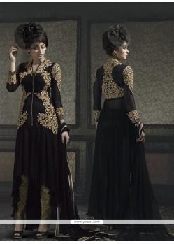 Exotic Resham Work Black Designer Salwar Kameez
