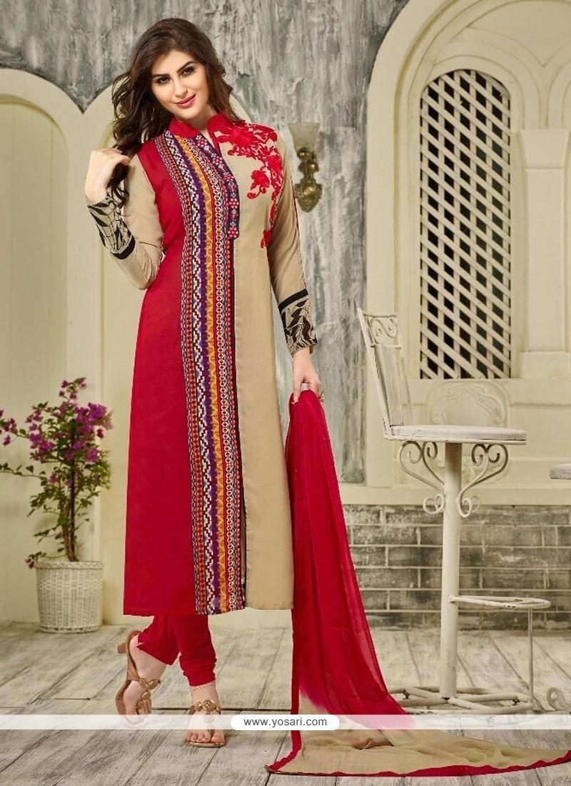 Hypnotizing Resham Work Georgette Designer Straight Salwar Kameez