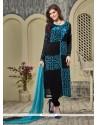 Unique Georgette Black Designer Straight Salwar Kameez