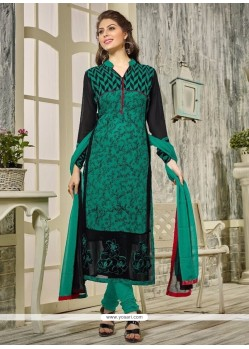 Green Georgette Designer Straight Salwar Kameez