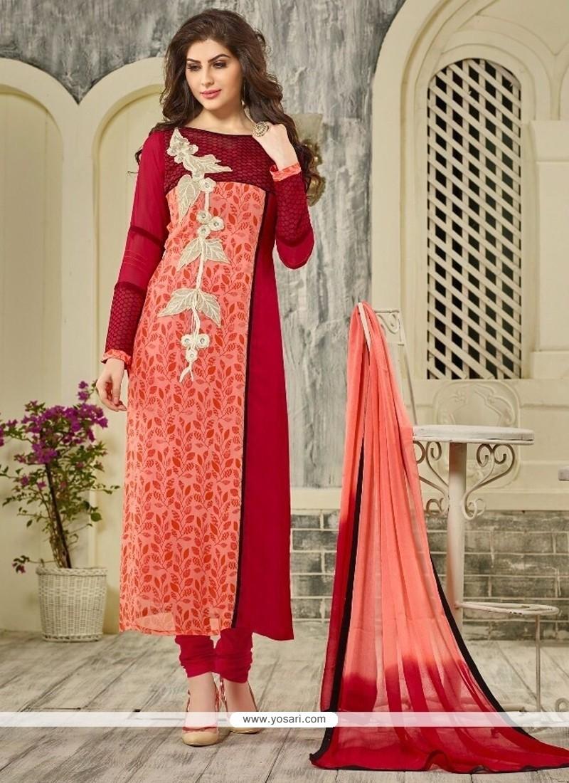 Modest Georgette Red Embroidered Work Designer Straight Salwar Kameez