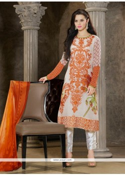 Renowned Georgette White Pant Style Suit