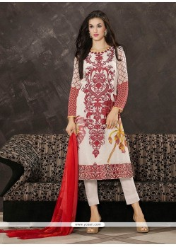 Sumptuous Embroidered Work White Georgette Pant Style Suit