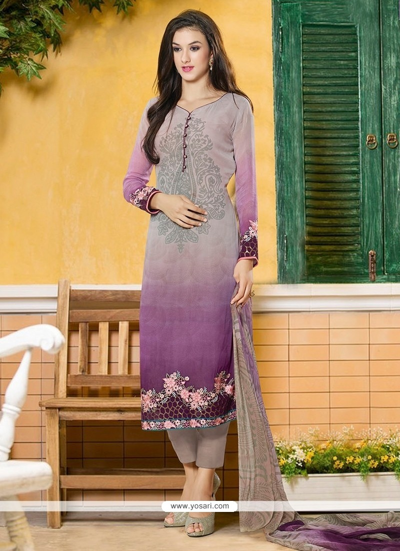 Miraculous Georgette Embroidered Work Pant Style Suit