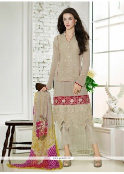 Eye-catchy Georgette Resham Work Pant Style Suit