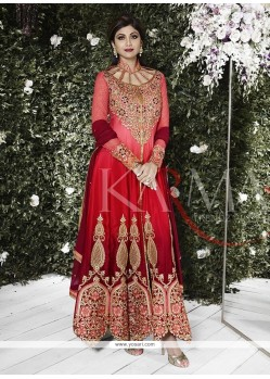 Shilpa Shetty Red Patch Border Work Anarkali Salwar Kameez