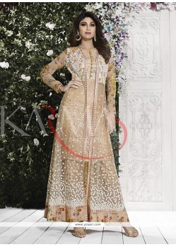 Shilpa Shetty Patch Border Work Net Anarkali Salwar Kameez