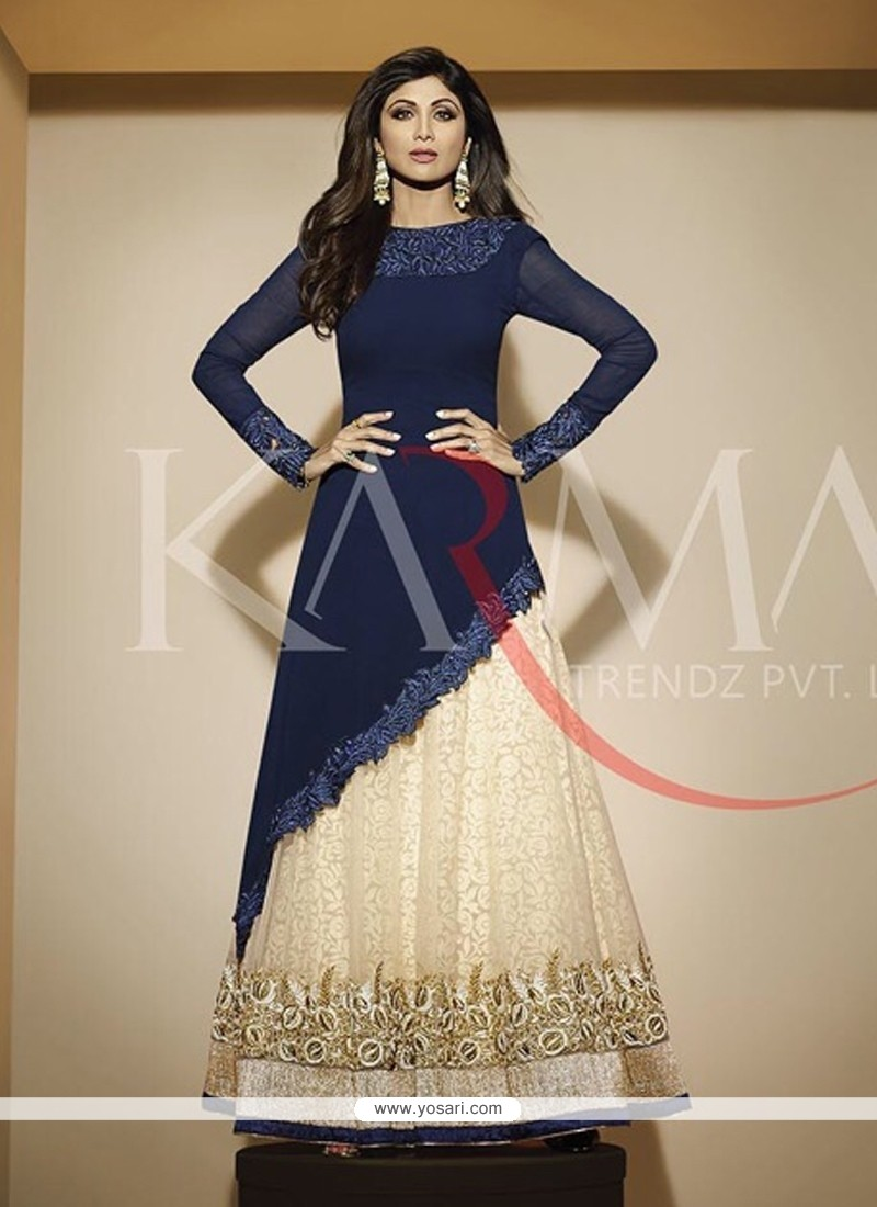 109022125 Shop online Shilpa Shetty Georgette Embroidered Work Anarkali Salwar ...
