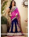 Royal Blue Applique Velvet Lehenga Choli