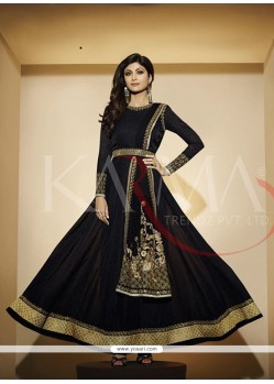Shilpa Shetty Black Embroidered Work Anarkali Salwar Kameez