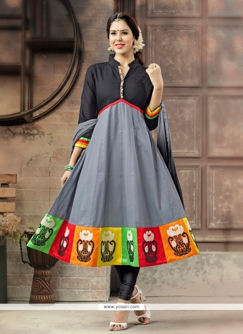 Prime Cotton Embroidered Work Anarkali Salwar Suit