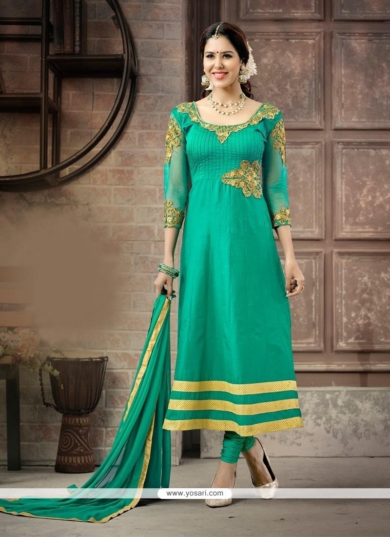 Spectacular Resham Work Cotton Anarkali Salwar Suit