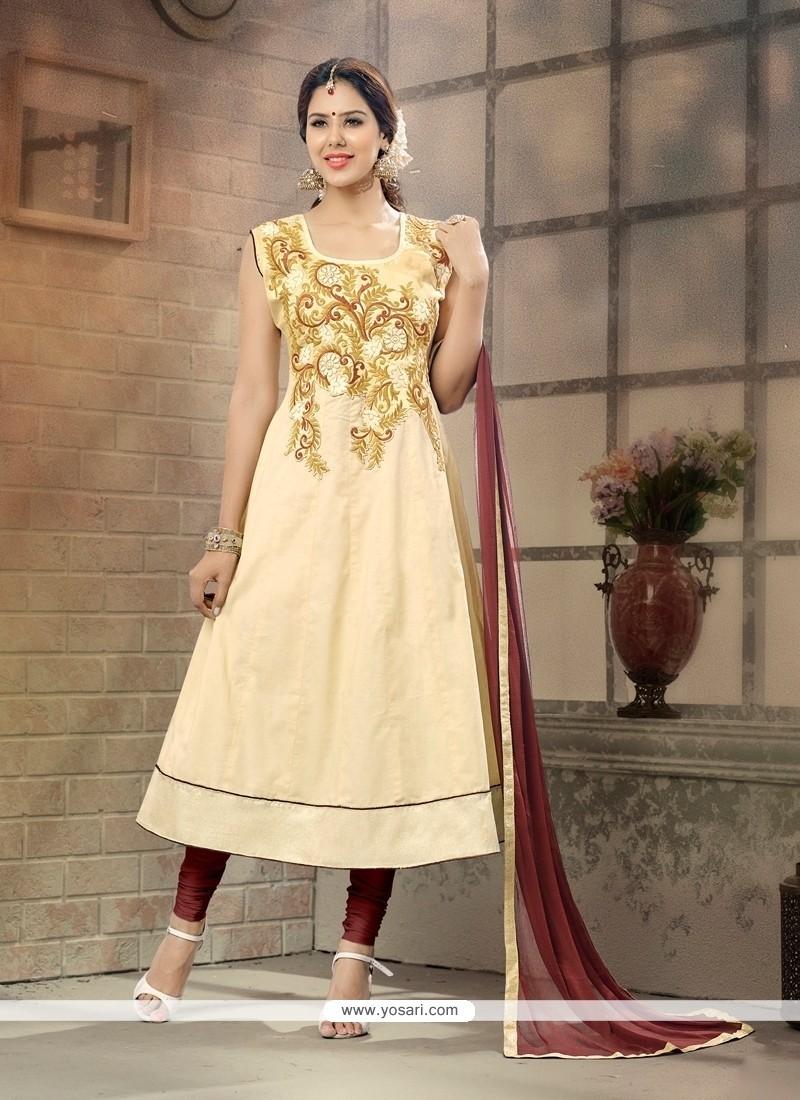 Majesty Cream Anarkali Salwar Suit