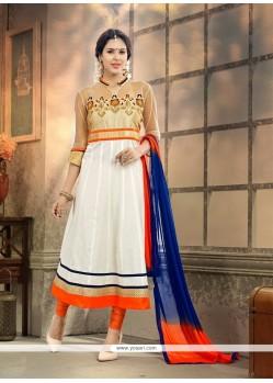 Modish White Resham Work Cotton Anarkali Suit